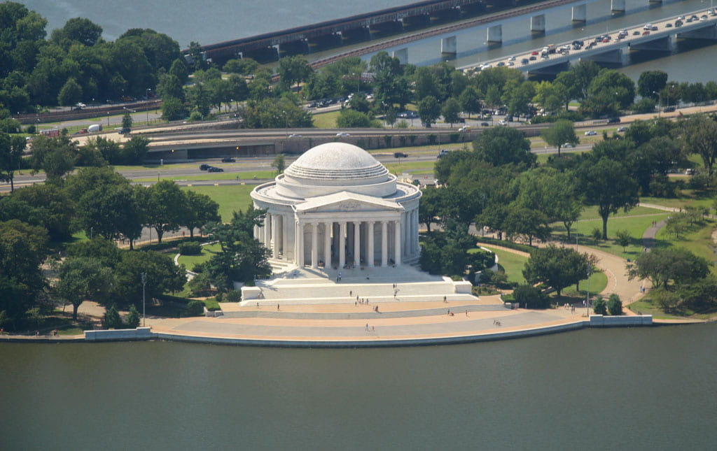 Aerial view Thomas Jefferson Memorial beside Tidal Basin Washington DC