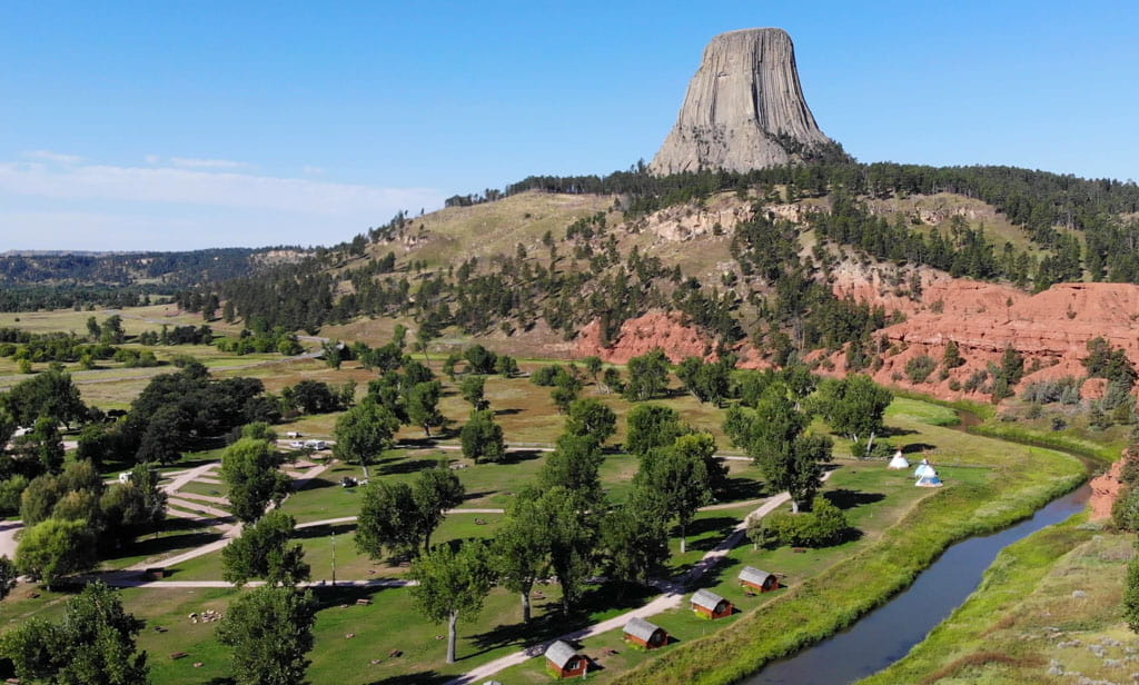 Campground and river foreground Devils Tower background