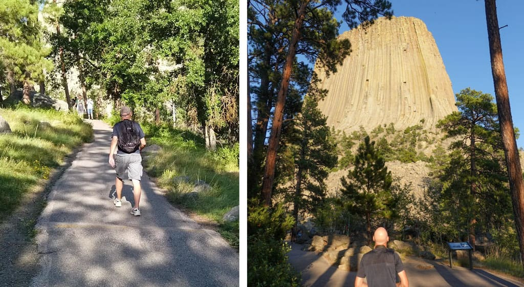 2 pictures of person on Devils Tower hiking trail