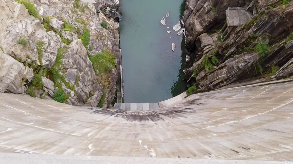 Look down dam to river below