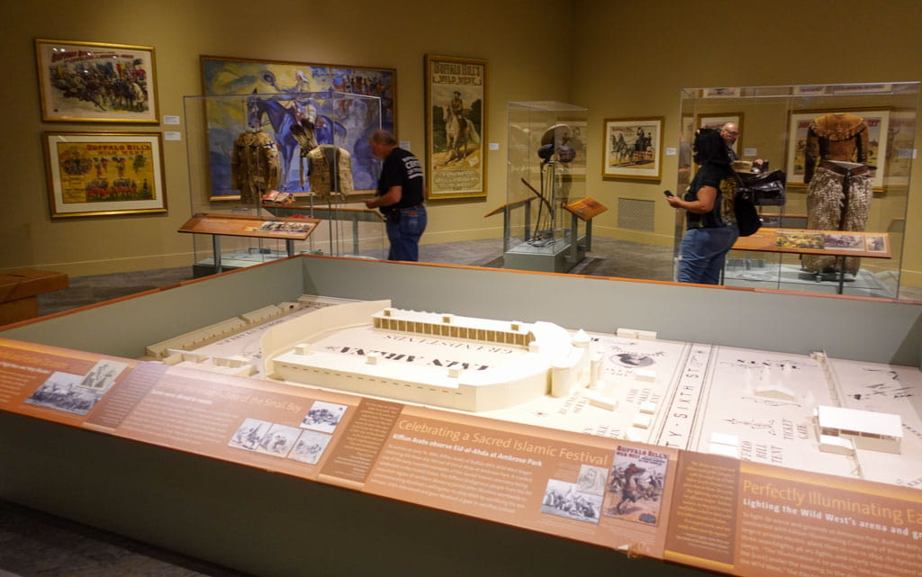 Model of stadium museum displays background