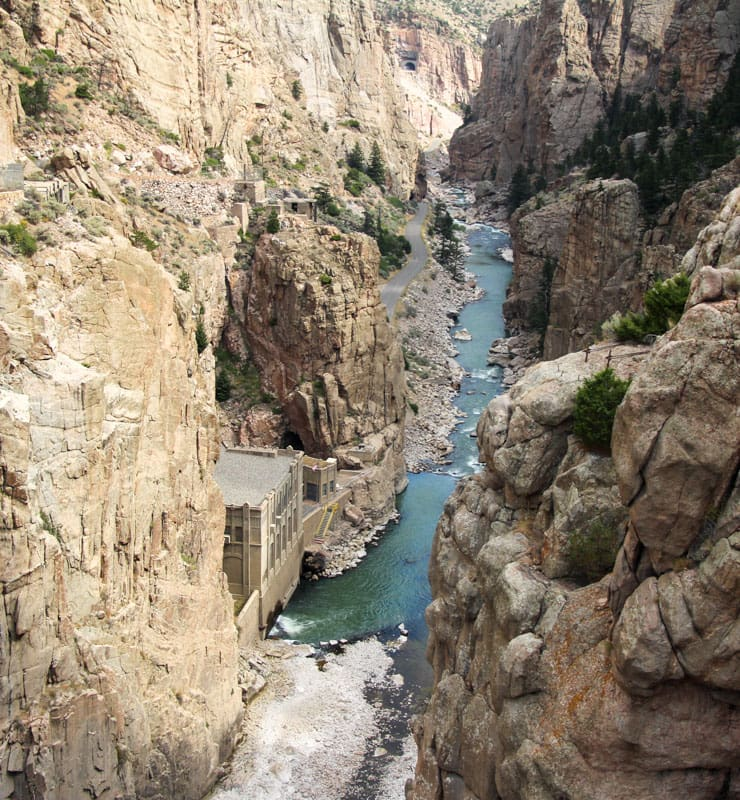 River in bottom of steep-sided canyon