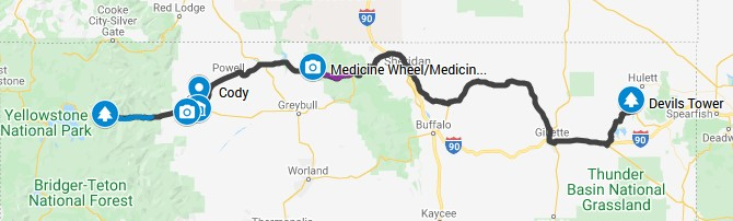 Wyoming Road Trip Map