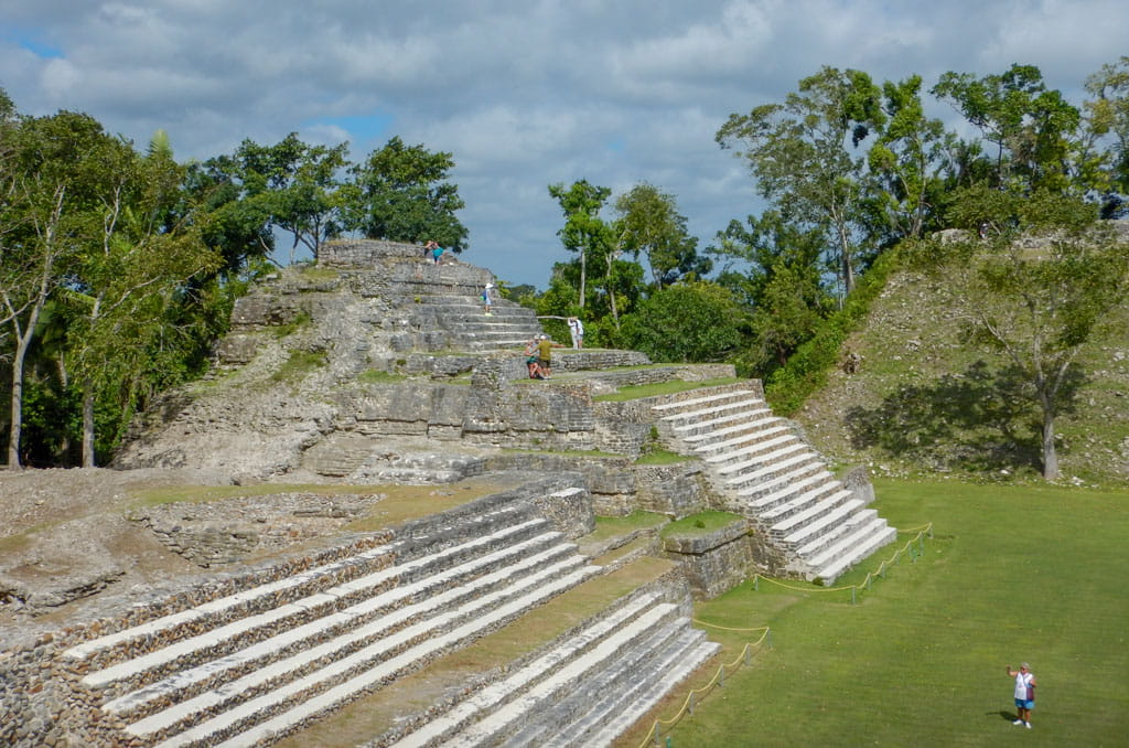 Altun Ha Structure A2 foreground with the Temple of the Green Tomb (A1) beside it