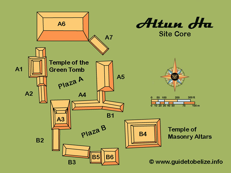 Map of Altun Ha site showing structure outlines