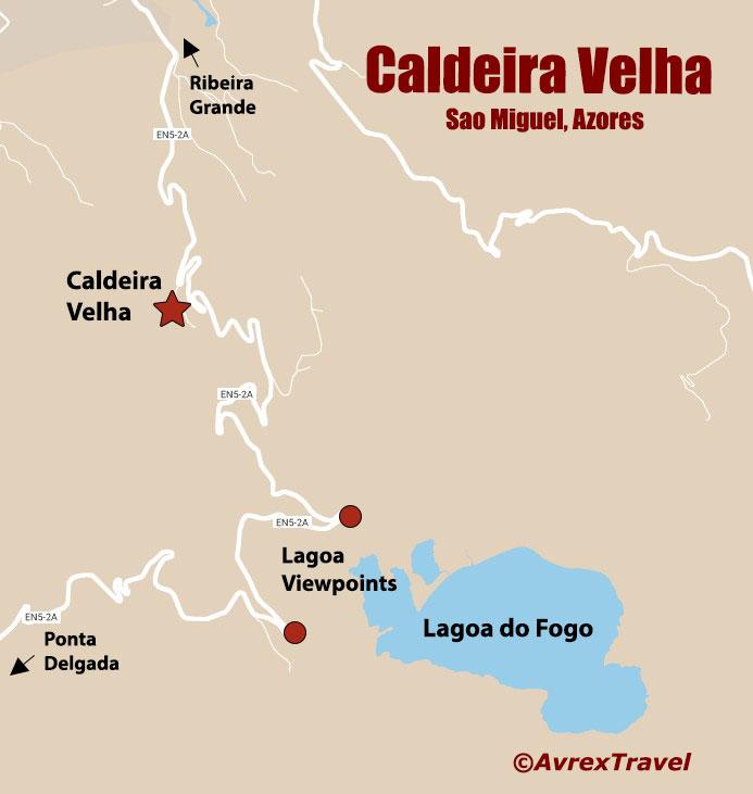 Caldeira Velha Map Sao Miguel Azores