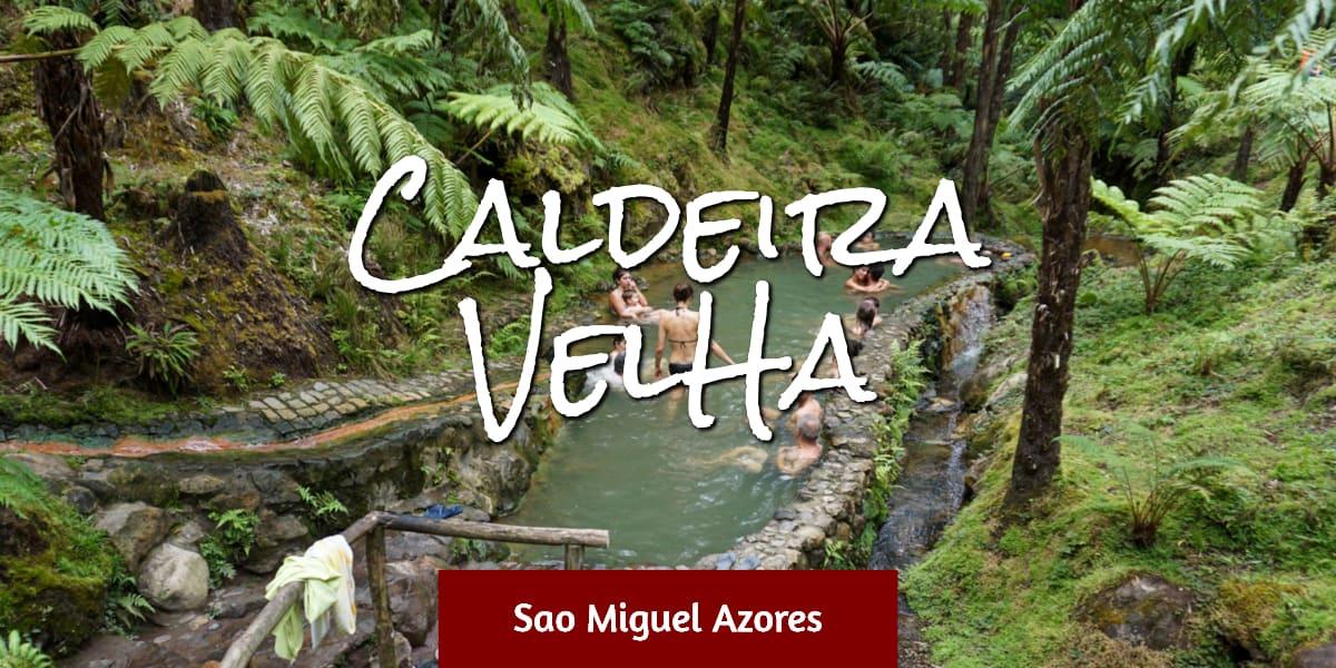 People in Caldeira Velha thermal pool