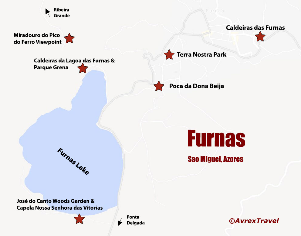 Map Furnas Sao Miguel Azores
