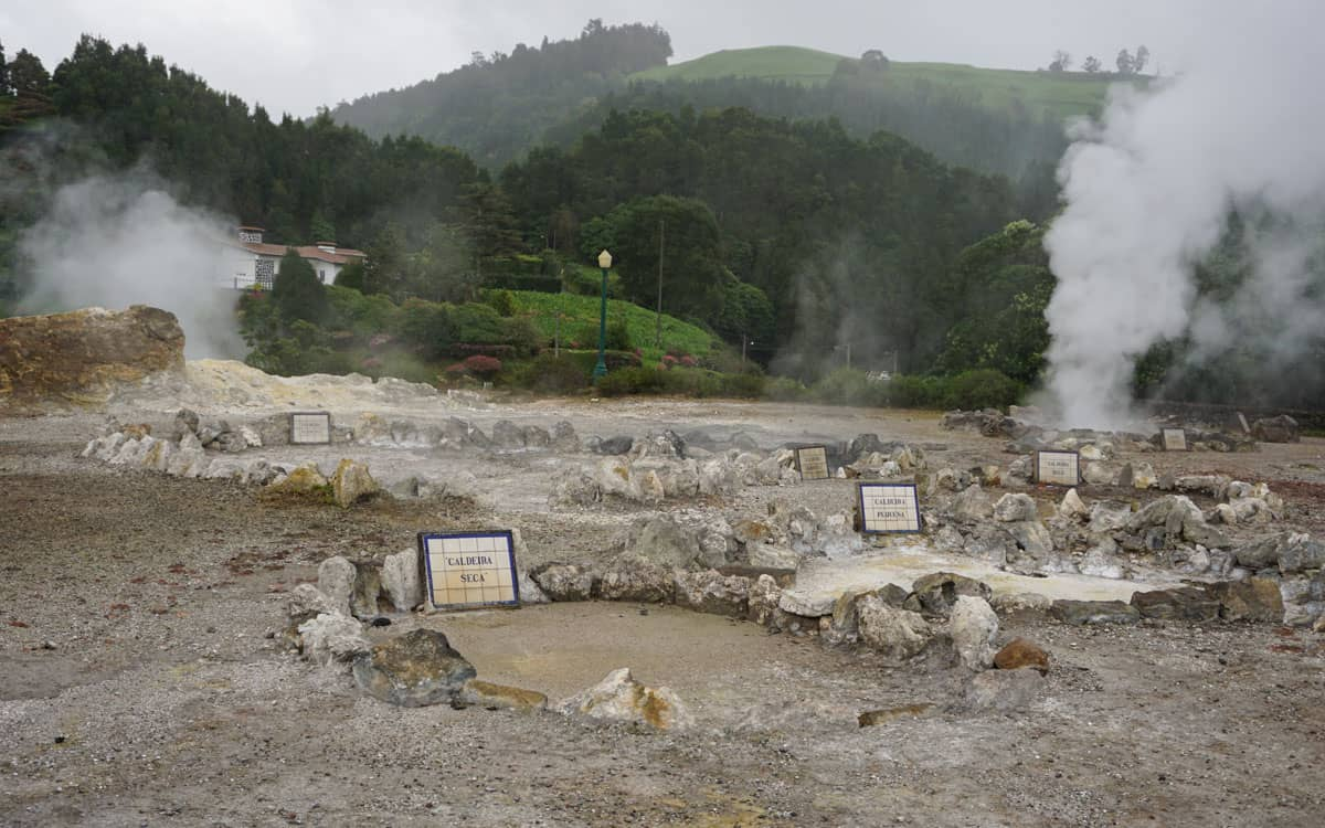 Circular pits of geysers and fumeroles Furnas