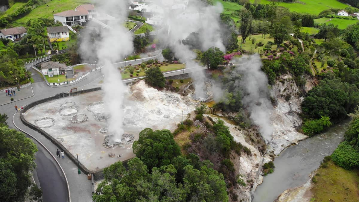 Aerial view geysers and fumeroles Furnas Caldeiras