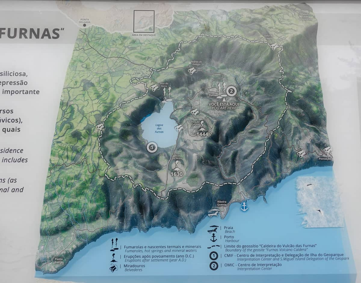 3D view of Furnas Volcano caldera village lake