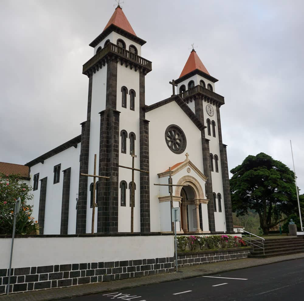 Twin spired church Furnas Azores