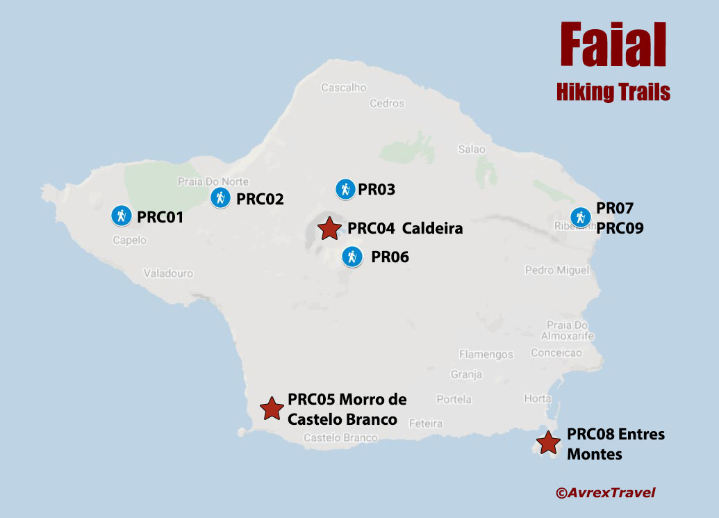 Azores Hiking - Faial Map