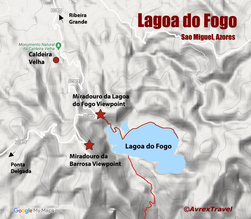 Lagoa do Fogo Map - Sao Miguel Azores