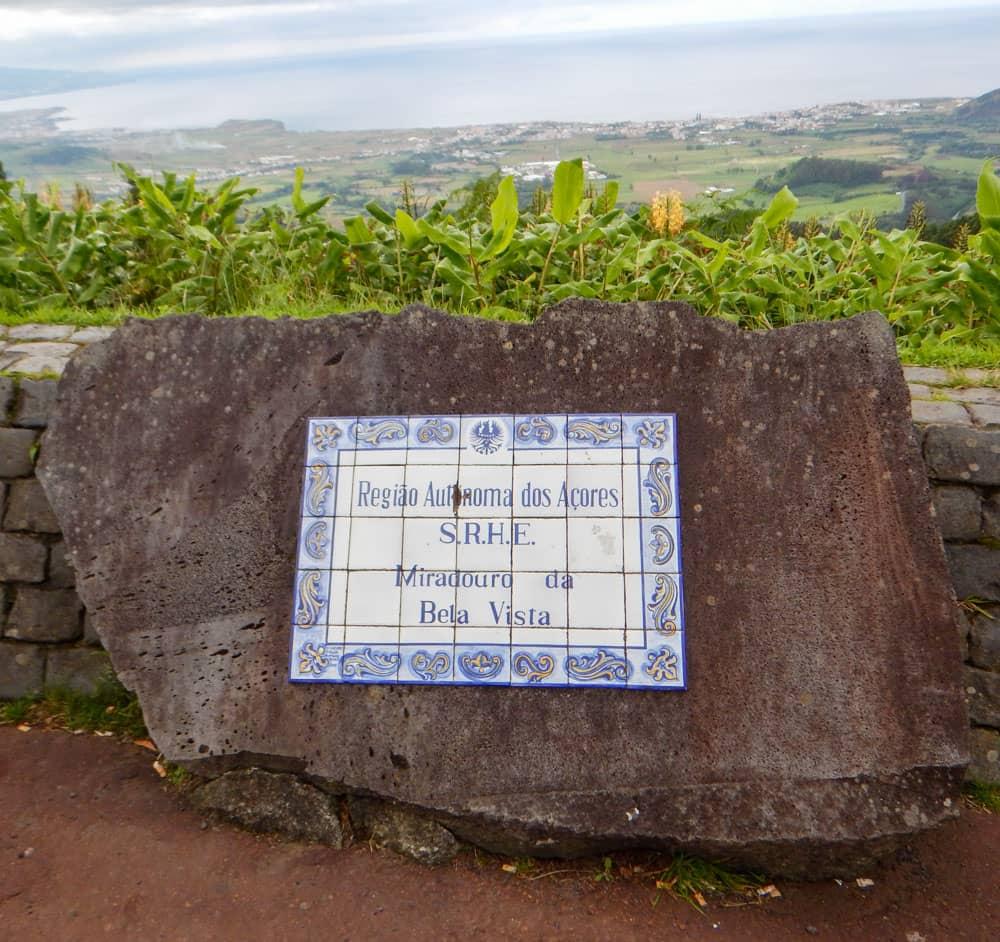 Sign for Miradouro da Bela Vista with view behind