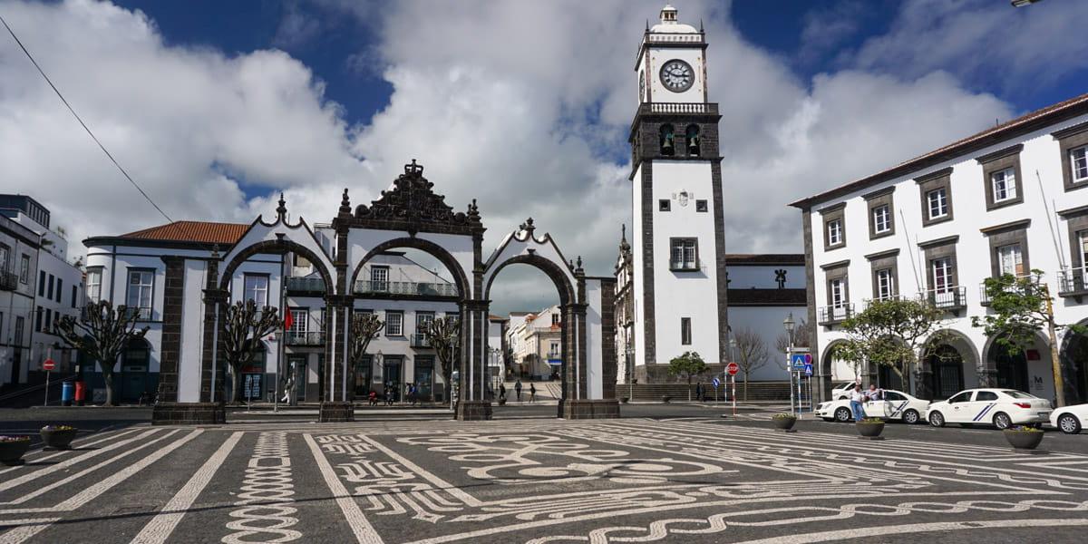 Cobblestone square City Gate Ponta Delgada