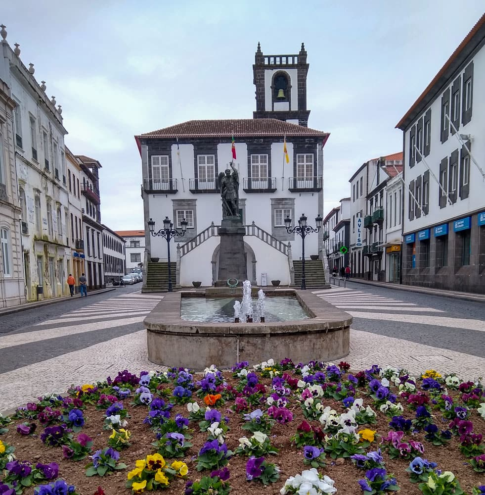 Flowerbed fountain statue Ponta Delgada City Hall