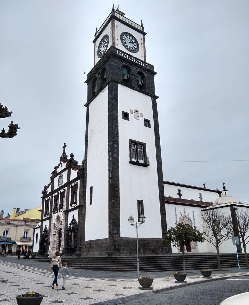Large clock tower of Sao Sebastiao Church
