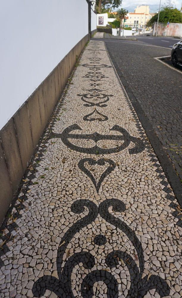 Cobblestone designs of Ponta Delgada Sidewalk