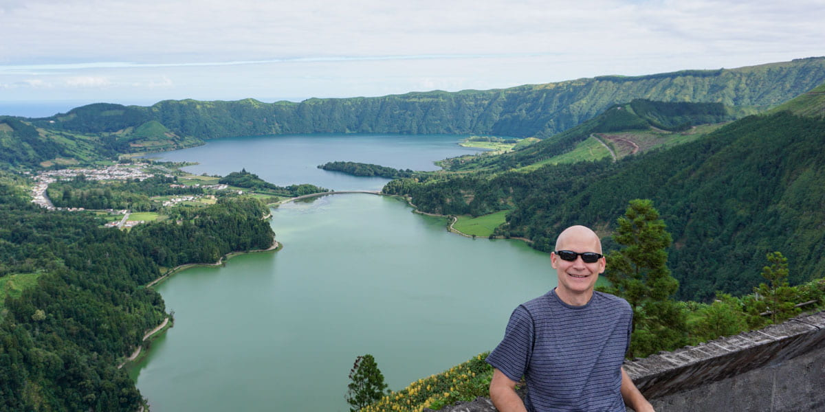 Person foreground Sete Cidades crater background