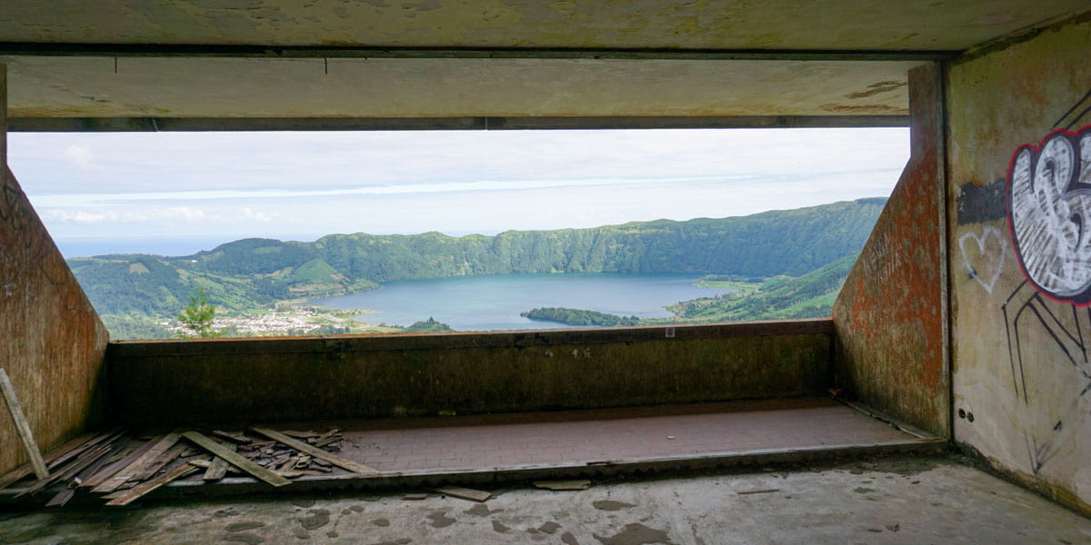 Foreground debris middle view of Sete Cidades Azores