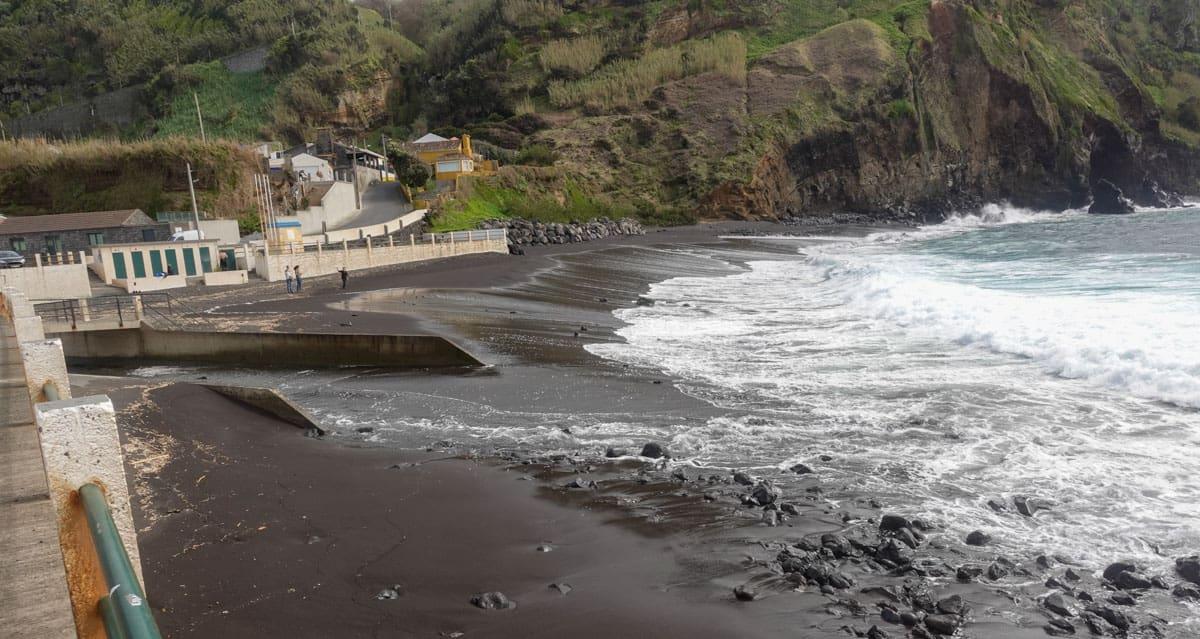 Mosteiros Azores black sand beach