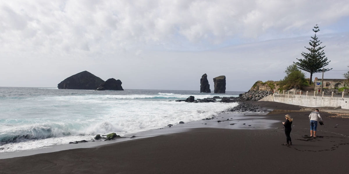 Mosteiros Azores black beach and islets