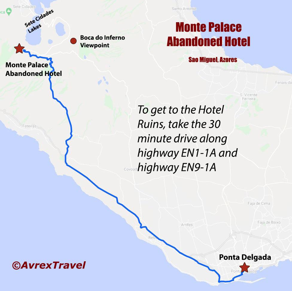 Sete Cidades Abandoned Hotel Road Map