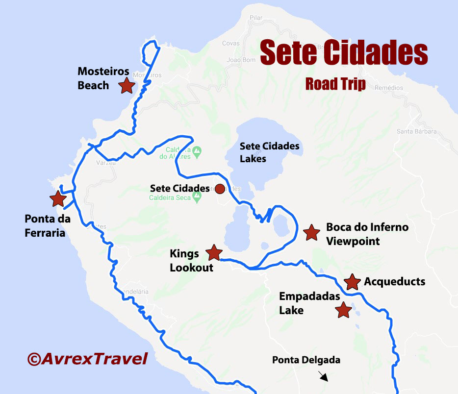 Sete Cidades Azores Points of Interest map