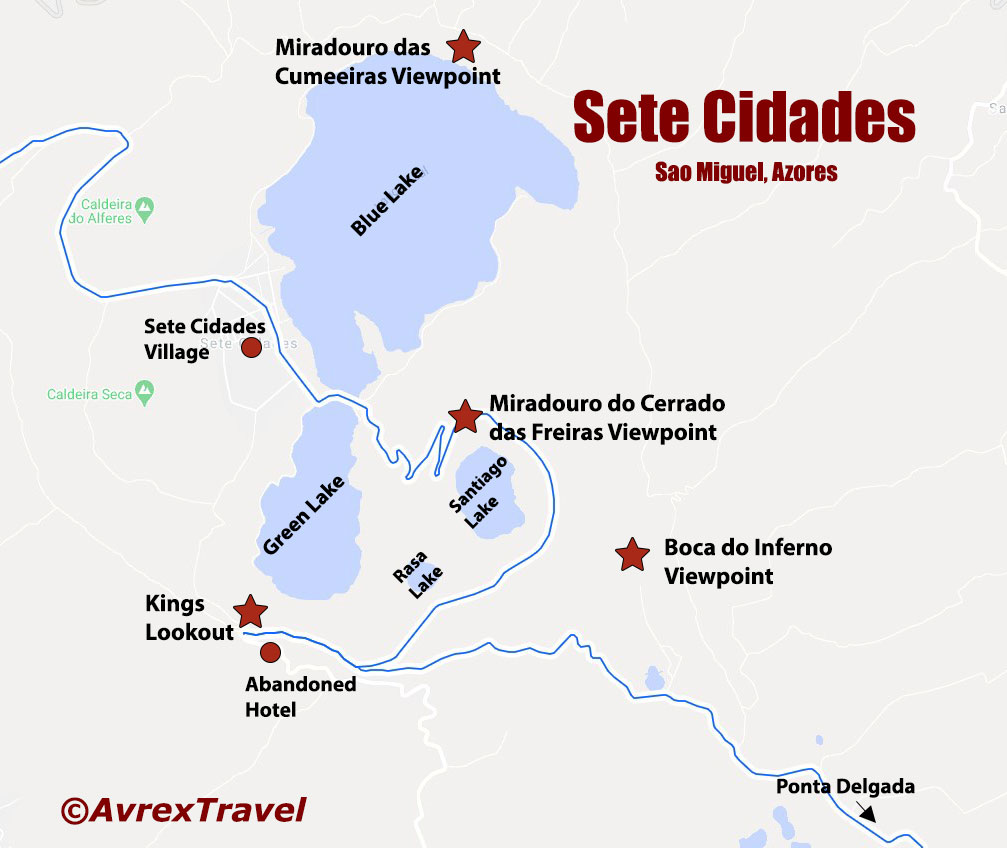 Sete Cidades Azores Viewpoints map