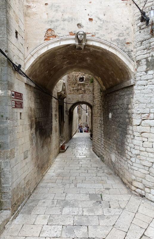 Covered narrow stone street Sibenik