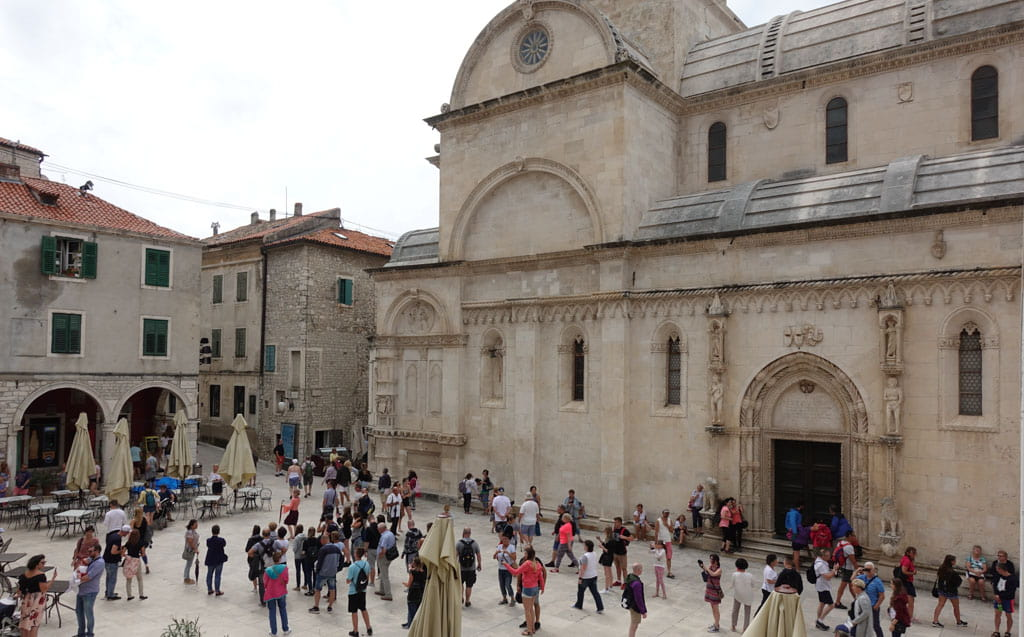 People in Old Town Square Sibenik