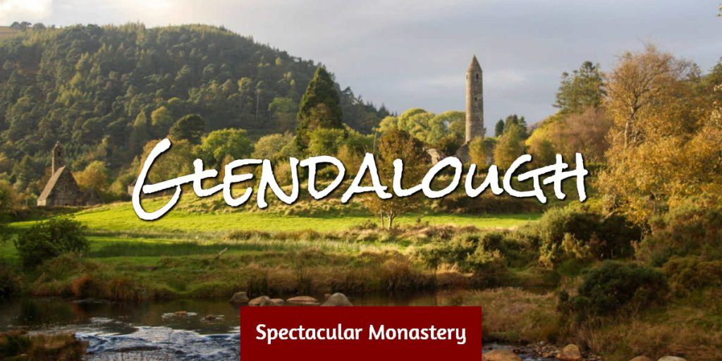 Glendalough Monastery with mountain behind
