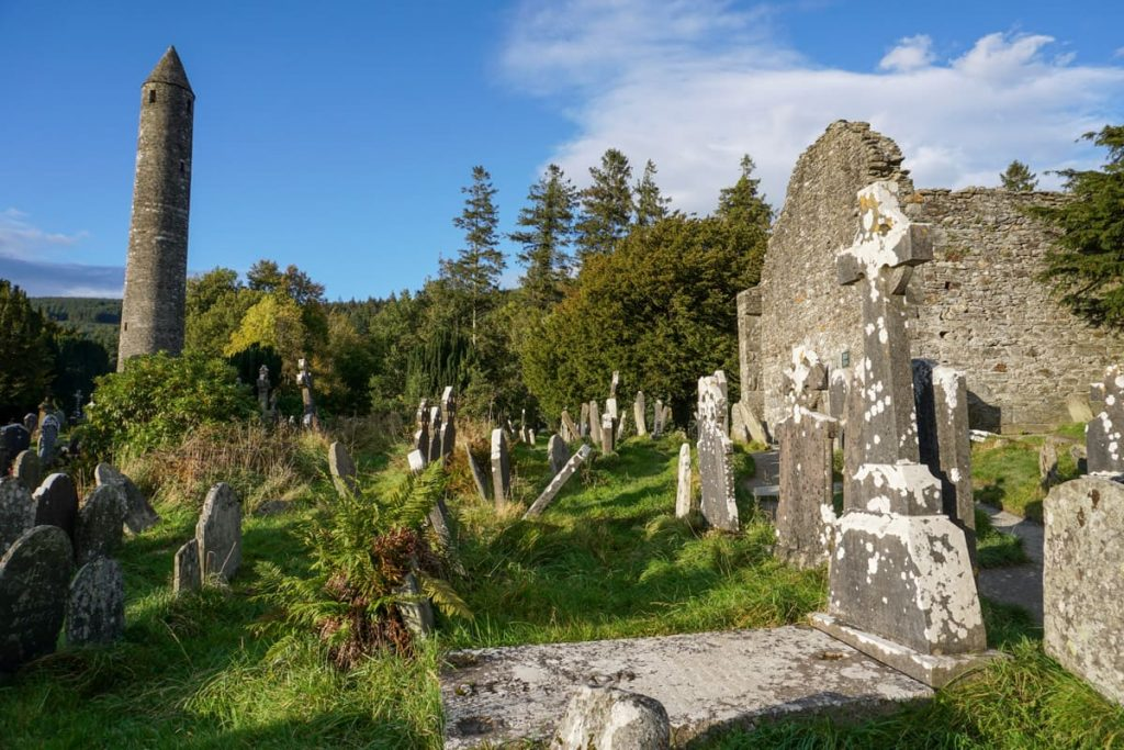 Glendalough Round Tower, graveyard and Cathedral