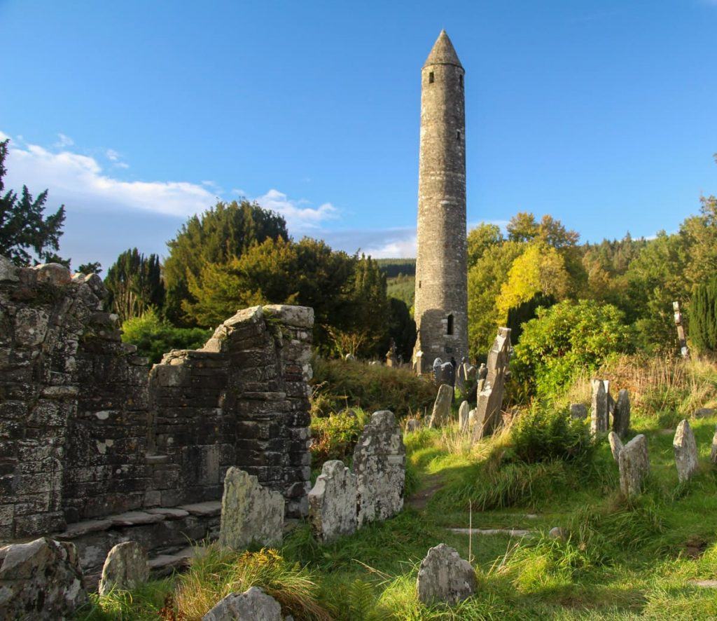 Glendalough Round Tower and Priests' House
