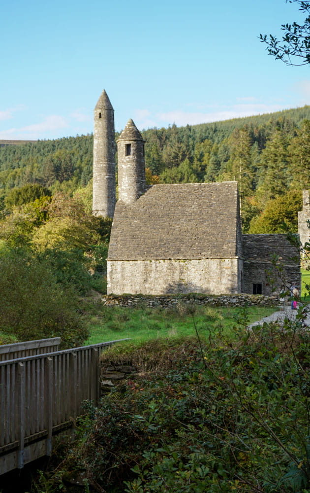 Glendalough's Round Tower, St. Kevin's Church from afar