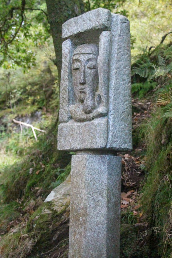 Sculpted stone post Glendalough monastery