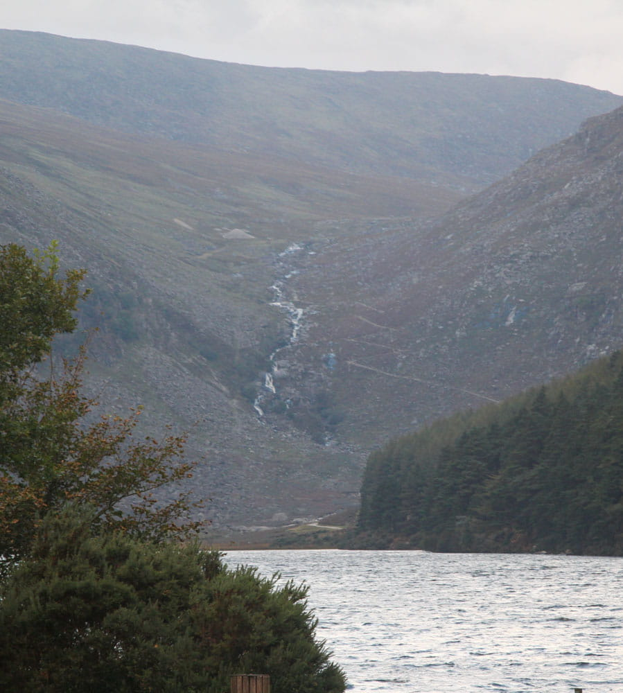 Glendalough Valley mountains at head of lake