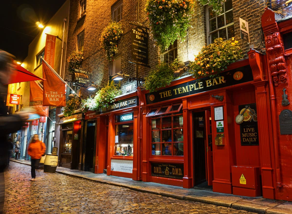 Exterior with flowers Temple Bar Dublin Ireland