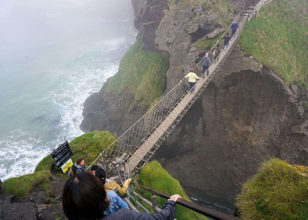 People on rope bridge Carrick-a-Rede Ireland