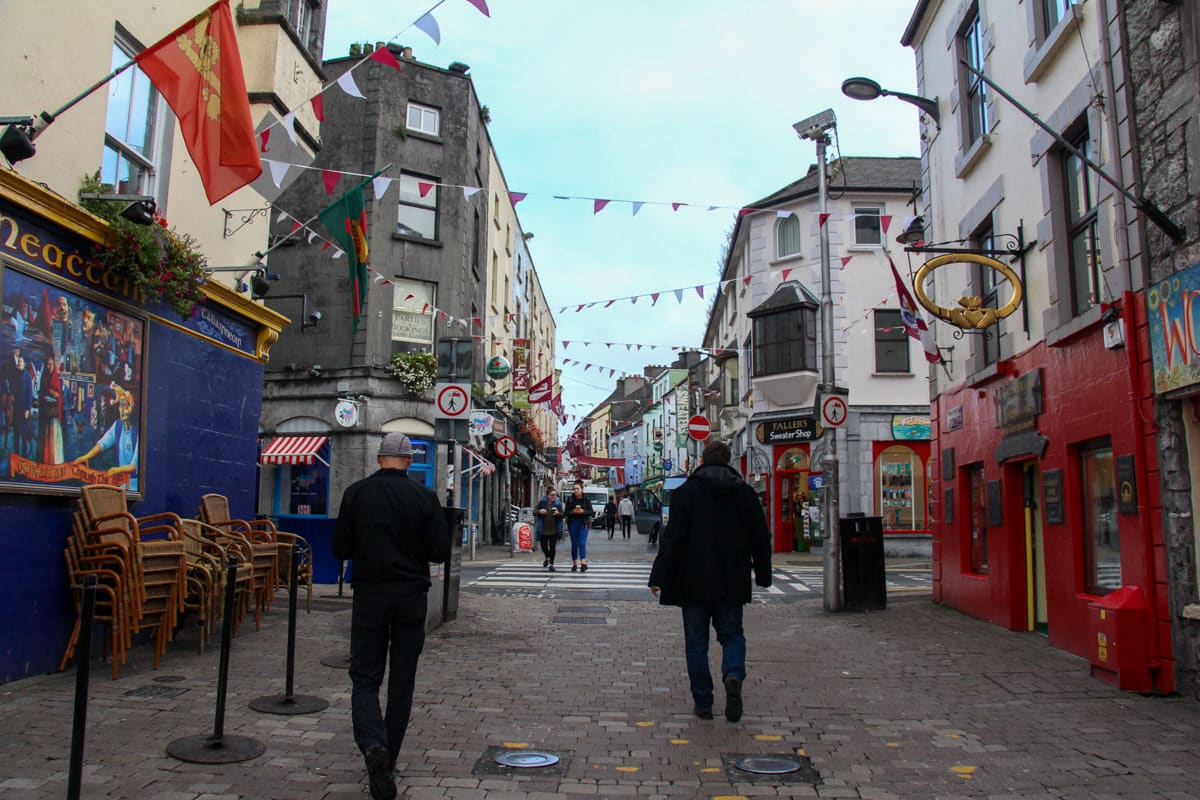 People on street Galway Latin Quarter