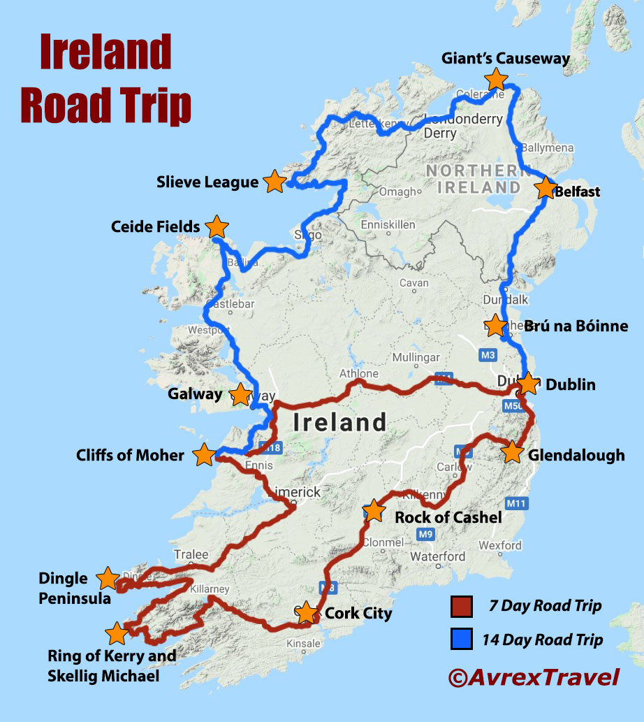 Map showing 2 driving routes of Ireland