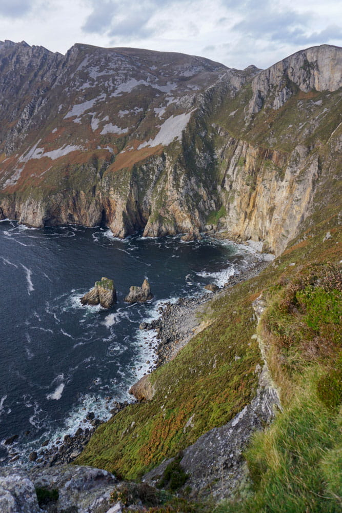 View from top Slieve League cliff of water below