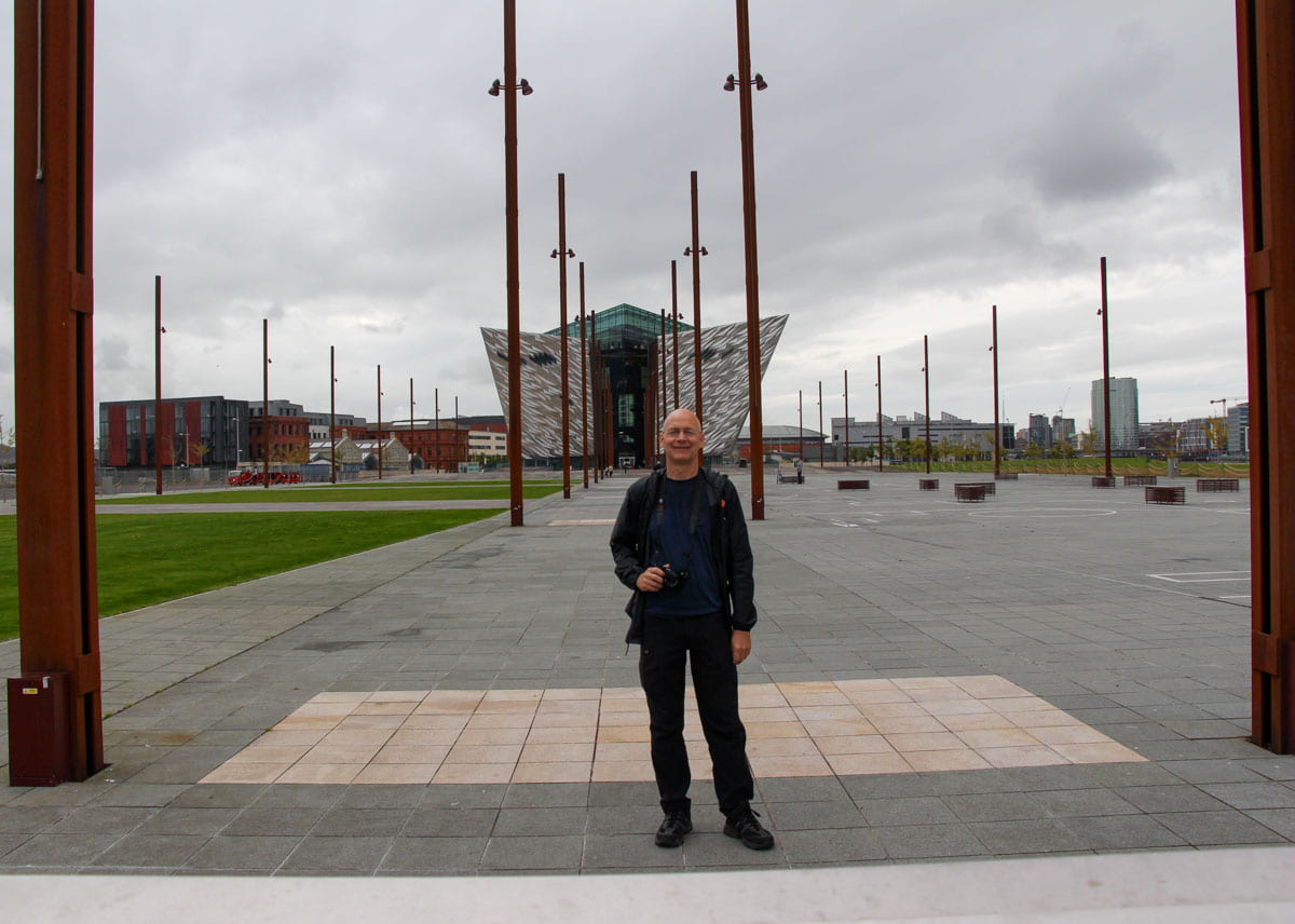 Person Slipway park Titanic Belfast background