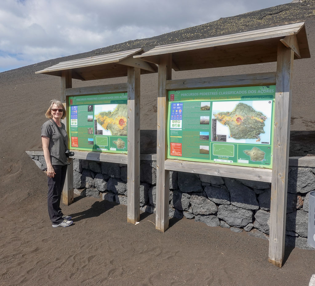Trailhead signs for Faial's Coast to Coast Trail