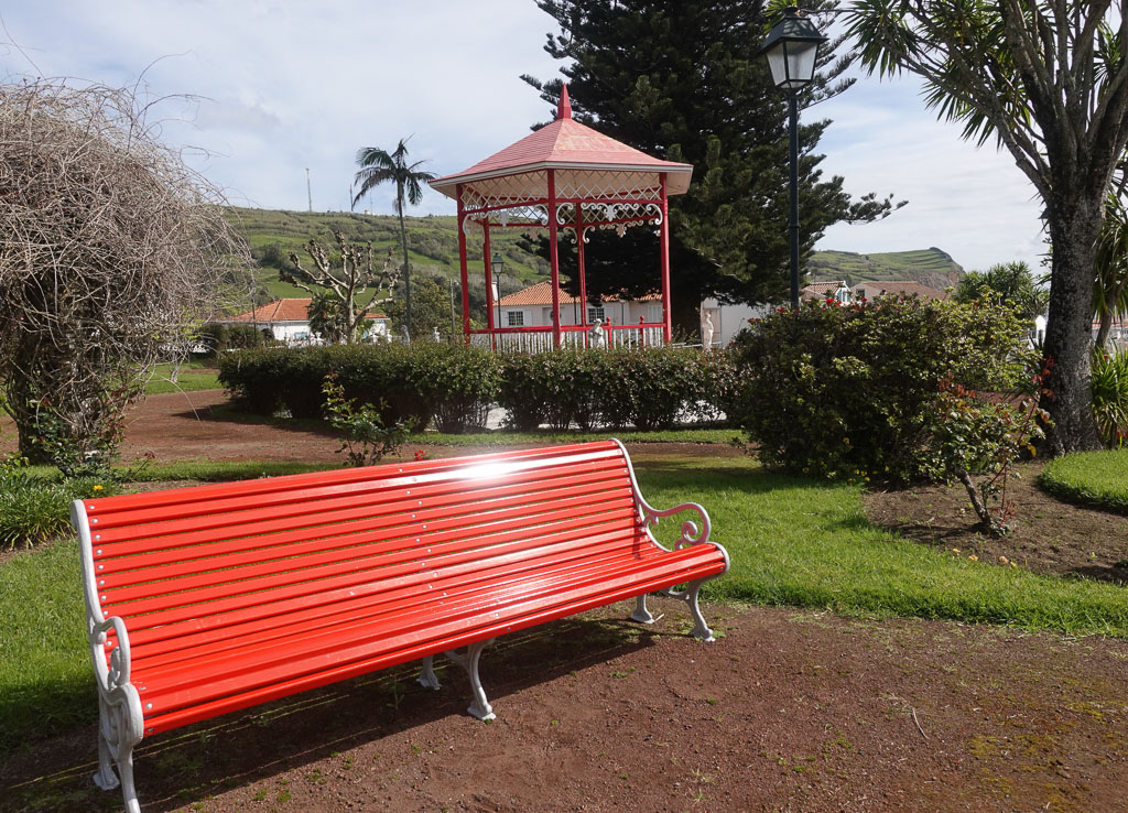 Park bench and gazebo in Florencio Terra Garden Horta