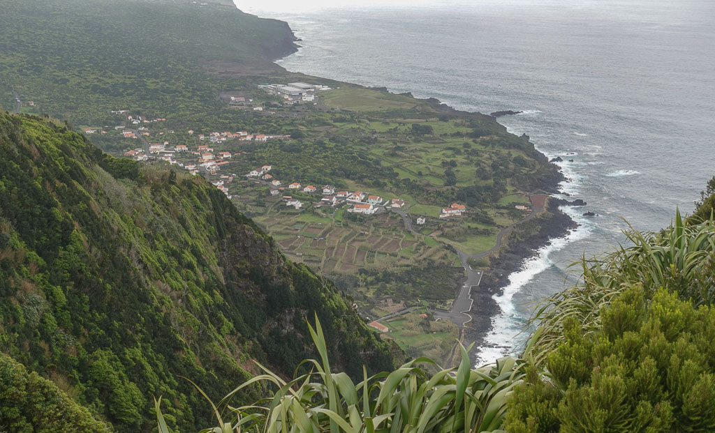 Looking down from Ribeira das Cabras Viewpoint to Faial's Faja beach